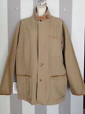 ORVIS Tan Khaki Cotton Canvas Leather Elbow Patch Men's Safari Jacket Size 44