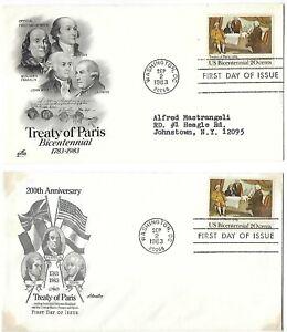 4 '83 FDCs Treaty of Paris Bicentennial (2), Henry Clay, Honoring Paralyzed Vets