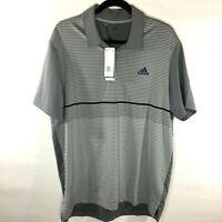 NWT Adidas Men's L Golf Polo Shirt Grey Stripes Ultimate 365 UPF 50 EI8697 $65