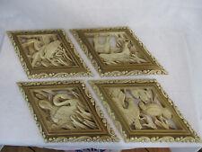 Burwood Homco Vintage 1973 Heron Bird Duck Swan 4 Wall Plaques Diamond Shape