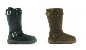 Ella Harley Faux Sheepskin Fur Mid Calf Pull On Warm Autumn Winter Ladies Boots