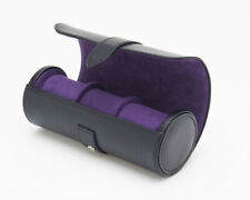 Wolf Designs 305628 3 Piece Black/Purple Watch Roll Holder Travel Case