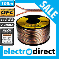100m 14AWG (2.0mm2) Speaker Cable Roll 100% Pure OFC - 14 Guage Wire Audio Cord