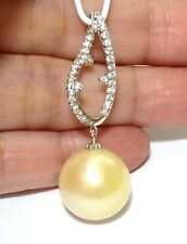 Huge 14mm Natural Gold Australian South Sea Cultured Round Pearl Classic Pendant