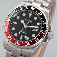BLIGER 43mm black dial sapphire glass super luminous GMT Automatic mens watch 23