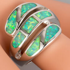 Kiwi Green Fire Opal Wide Wound Silver Jewelry Bypass Wrap Ring US Size 7 8 9 10