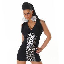 sexy metallic Print Party Mini Kleid figurbetont Träger silber schwarz M/L 36-40