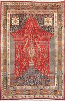 Tribal Geometric Vintage Abadeh Oriental Wool Area Rug Hand-Knotted Carpet 5x8