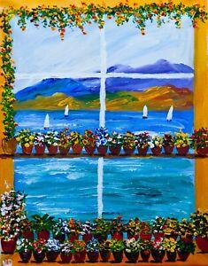 My Window Garden landscape Natasha Petrosova original painting 11x14 inch