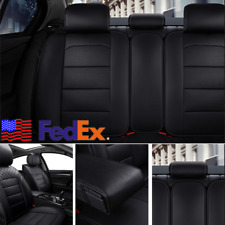 Black PU Leather 5-seats Car Seat Cover Front+Rear Chair Cushion Protector USA