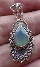 Superb Filigree Sterling Silver and Aqua Chalcedony Pendant