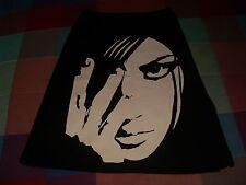 falda marca Peach negra cremalleras laterales estampado cara mujer delante M