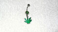 Green Enamel Pot Leaf Charm Belly Navel Ring Body Jewelry Piercing 14g