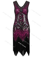 1920s Flapper Beaded Dress Charleston Gatsby Party Prom Evening Vintage Costume