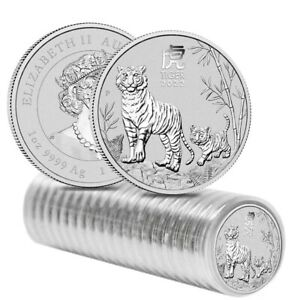 Roll of 20 - 2022 1 oz Silver Lunar Year of The Tiger BU Australian Perth Mint