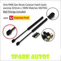 One PAIR Gas Struts Caravan hatch boot awning 323mm long x 100N Matches 5027DG