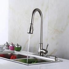 Kitchen 18'' Pull Out Faucet Kit With Soap Dispenser Sink Brushed Nickel