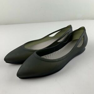 Crocs Rio Women 8 Grey Smoke Platinum Jelly Ballet Flats Pointed Toe Casual Shoe