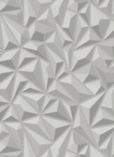 Erismann Luxury 3D Geometric Embossed Feature Wallpaper - GREY