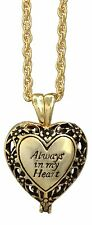 "'Always In My Heart' Memorial Urn Necklace Locket on 24"" Chain, Gold-Plated"