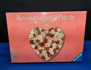 Sealed Ravensburger Silhouette HEART Shaped 948 Piece Jigsaw Puzzle 1999 Roses