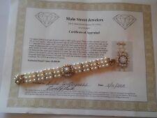 Vintage Handmade Diamond & Pearl 14k Solid Gold Geneva Ladies Bracelet Watch M31