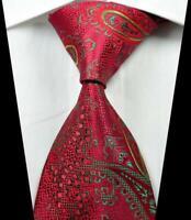 Hot! Classic Paisley Red Green Yellow JACQUARD WOVEN 100% Silk Men's Tie Necktie