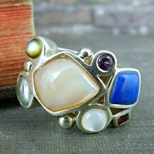 Signed LT Thailand Sterling Silver Multi-Color Gemstone Ring