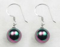 10 mm black South sea shell pearl and sterling silver hoop earrings