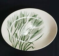 "Homer Laughlin Wheat Americana Green Platter 30s Vintage 12"" Serving Dish"