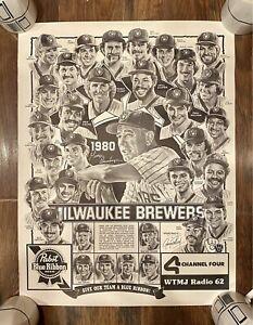1980 Milwaukee Brewers Pabst Blue Ribbon George Pollard Drawn Team Poster