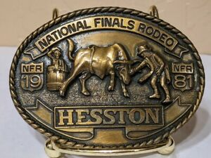 National Finals Rodeo Hesston 1981 NFR Buckle Cowboy Bull Fighting Clown NFR 7t