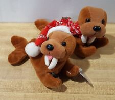 2 New 1998 Coke Beanie Baby Babies Walrus With Coca-Cola Bottle