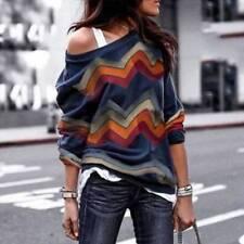 Damen Printed One Shoulder Langarmshirt T-Shirt Sweatshirt Bluse Oberteile Pulli