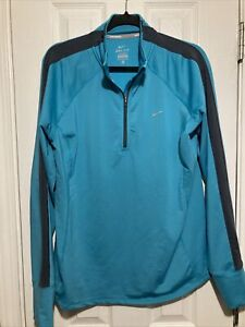 Nike Womens Running Blue Dri Fit 1/2 Zip Long Sleeve Top Size XL
