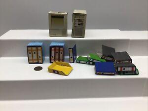 Vintage Barbie Doll Sized Cardboard Desk Office Accessories Computer Files