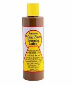 NEW Amazing Maui Babe Browning Lotion 8 oz Bottle All Natural Fast Dark Tan