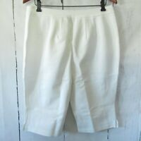 New Joan Rivers Crop Pants Bermuda Shorts L Petite Ivory Off White Pull On QVC