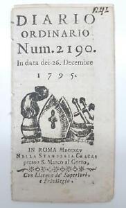 Concistoro Diario ordinario numero 2190 26 dicembre 1795 Stamperia Cracas