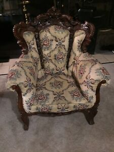 Antique Victorian Mahogany Carved  Parlor Sitting Armchair
