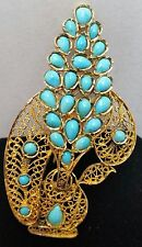 Royal Family Shah Jewelry 18 Karat Yellow Gold Fine Persian Turquoise Brooch