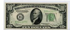 1934 A $10.00 Federal Reserve Note - New York, N.Y.  Lite Green #927C