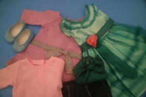 """American Girl 18"""" Doll Mary Ellen Green Dress Blue Capris A Meet Outfit"""