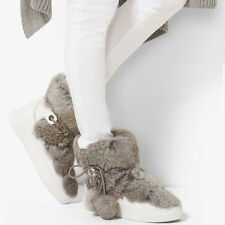 Michael Kors Nala Rabbit Fur Ankle Boots Sz 7 Optic White wFur NEW $250 Sold Out