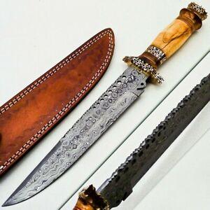 "Custom Handmade Damascus Steel Bowie Knife"" Olive Wood & Brass handle"