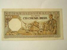 SERBIA Yugoslavia 100 dinara 1943 aUNC Germany occupation World War II.