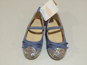 NWT Gymboree Eiffel Flowers Blue Flats Dress Shoes toddler Girls 4,6,7,8,9,10