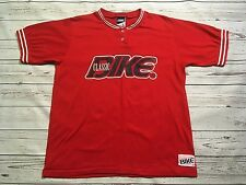 CLASSIC BIKE MENS S/S ATHLETIC SHIRT Sz L RED 2-BUTTON MADE IN USA RINGER