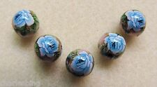 5 Japanese Tensha Beads BLUE ROSE on PINK MIRACLE ROUND Beads 12mm