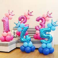 Pink Blue Crown Number Foil Balloon Digit Ballon Happy Birthday Party Decoration